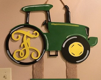 """22"""" Tractor hospital doorhanger - custom initial with hanging board for name, weight, length & date"""
