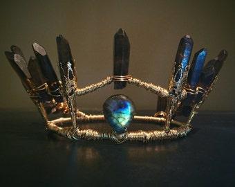 Smoky Quartz Labradorite Crown