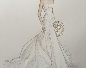 Bridal illustration. 9x12.