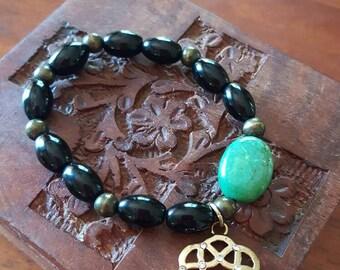 Black & green agate Boho