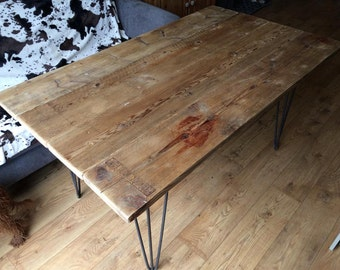 Six Seated Timber Dining / Garden Table with Metal Hairpin legs