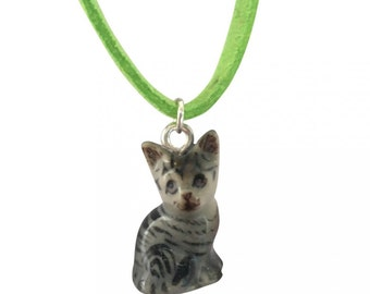 Mini ceramic cat kitten necklace
