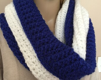color block infinity scarf, blue and white infinity scarf,