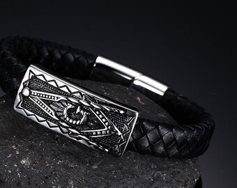 Black braided leather Masonic bracelet