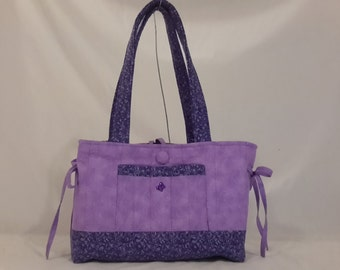 Purple heart and swirls quilted mini bow tucks purse