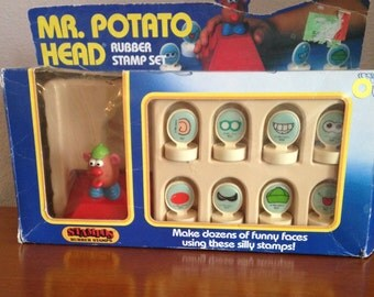 Vintage Mr. Potato Head Stamp Set in Original Box- 1985