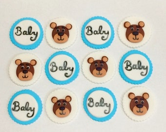 ON SALE Fondant Baby Shower Teddy Bear Cupcake Toppers