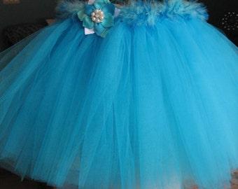 Turquoise *Tutu*Feather*Tulle*Adorable*Pre-Schooler* Toddler*Fluffy* Vibrant*Princess*Tie Back*Tutu*Dance*Costume*Ballet*