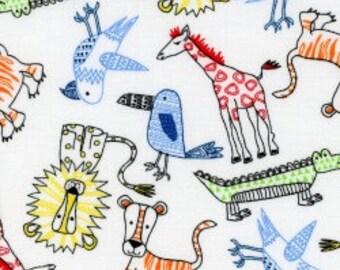 Cotton fabric. Galaxy, Urban zoo, Quilters weight. Jungle animals, alligators, lions, tigers, giraffe, birds, zoo animals, red, green yellow