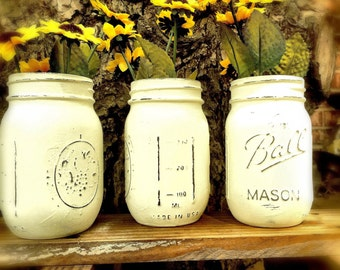 Set of 3 vintage painted mason jars, rustic jars, rustic decor, farmhouse decor, country decor