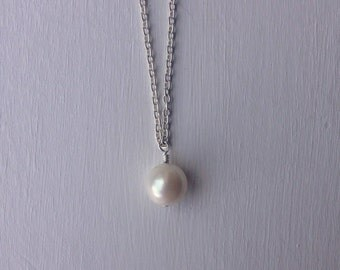 Pearl Necklace, Delicate Necklace, Silver Pearl Necklace