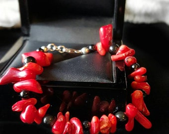 Natural Vivid Red Coral and Onyx in Sterling Silver