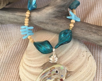 Glass Dolphin Pendant on Beaded Necklace // Wire Wrapped // Gifts for Her // Gifts for Mom // Beach Inspired //