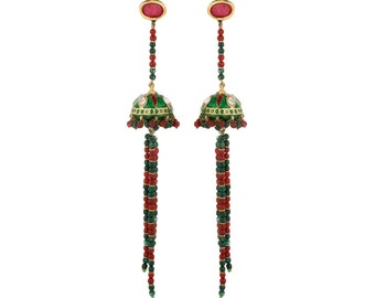 Dilan Jewels PURE Collection Red And Green Gold Plated Earrings For Women