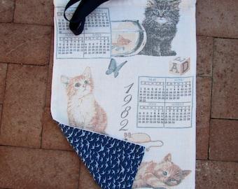 1982 Kittens Calendar Tea Towel Beach / Shopping / Tote Bag