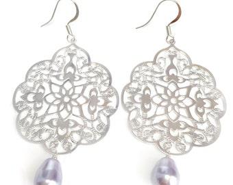 Bohemian Dangle Silver Earrings, purple earrings ,Filigree Moroccan Earrings Wedding Bridal Lavendar Lilac Pearl Teardrop Dangle Earrings