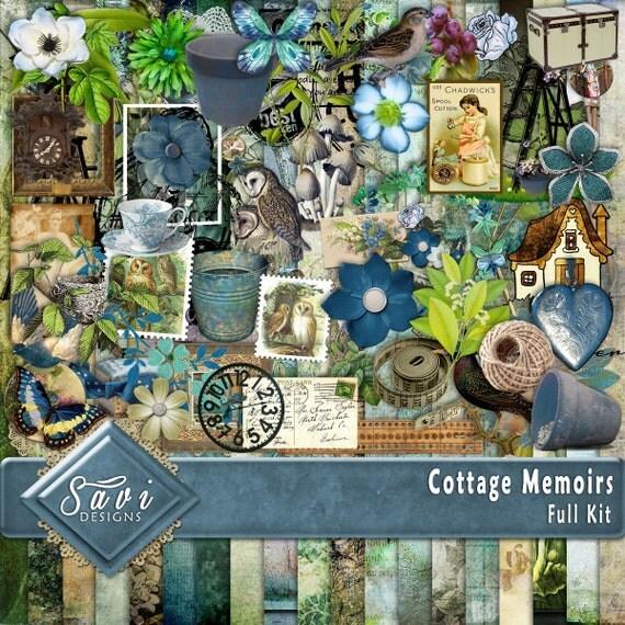 Digital Scrapbooking Kit COTTAGE MEMOIRS grandparents, vintage, and cottage feel, suitable for vintage and modern Scrap Pages