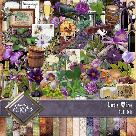Digital Scrapbooking Kit LET'S WINE Party, Celebrate, family, wine bottle, wine glass, suitable for vintage and modern Scrap Pages