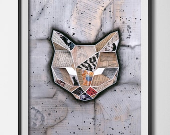 "Geometricat- Mixed Media Collage 12""x 16"" original art, cat lover gift"