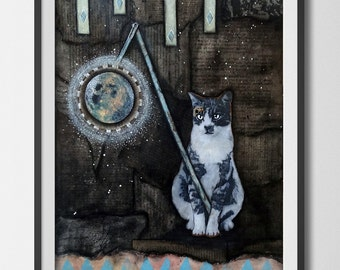 "Midnight Cat- Mixed Media Collage 16""x 20"" original art"
