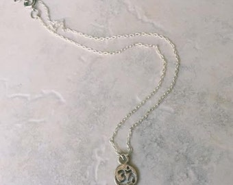 Dainty Silver Om Necklace