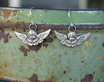 Solid Silver Winged Cherub Angel Earrings