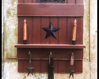 Distressed Country Wall Shelf Primitive Wall Decor rustic beadboard country chic