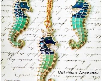 Seahorse Enamel Jewelry Set
