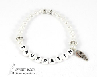 Bracelet godmother letter beads Angel wings white glitter rhinestone wedding gift