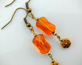 Golden Amber Glass Earrings