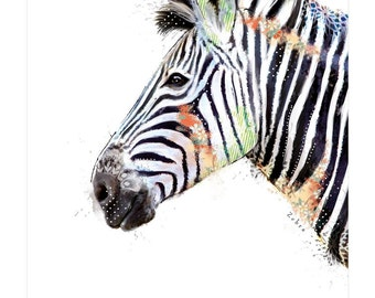Handmade Zebra Greetings Card