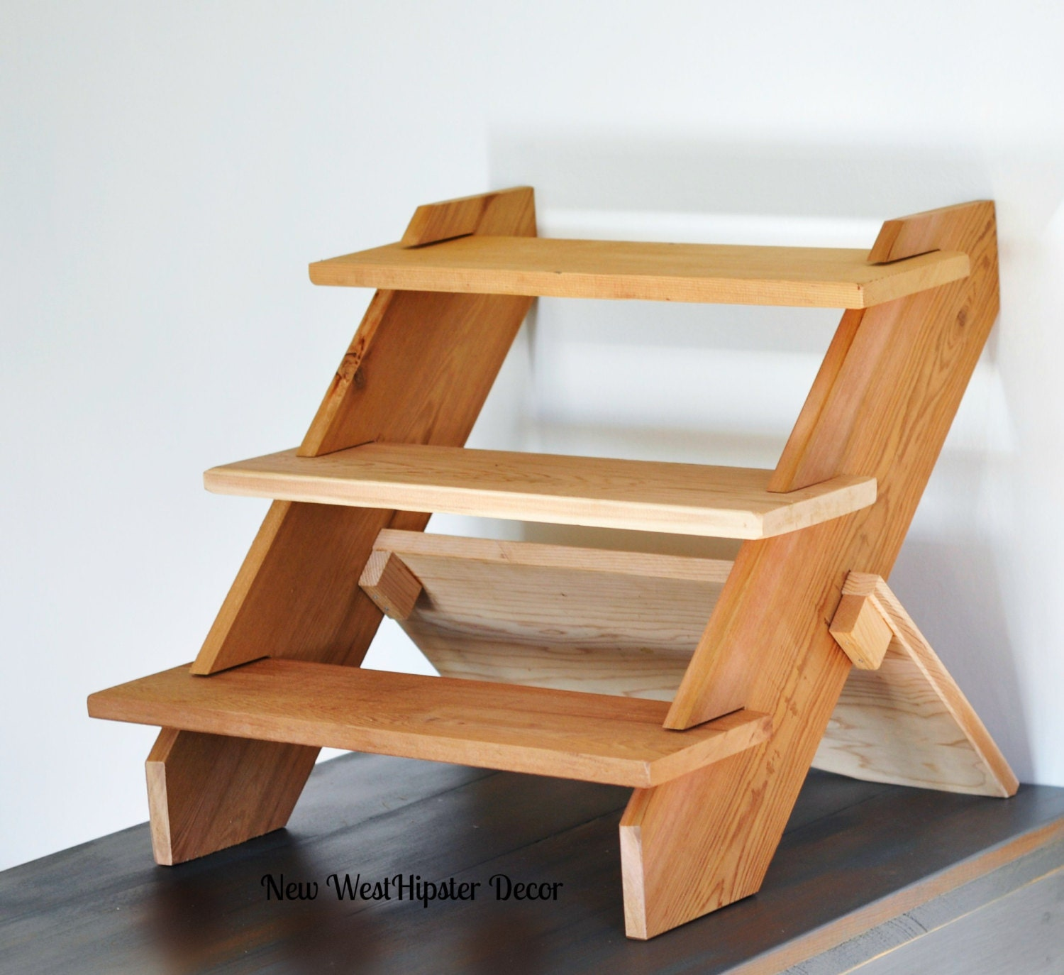 Display shelf tiered cedar for vendors by newwesthipsterdecor