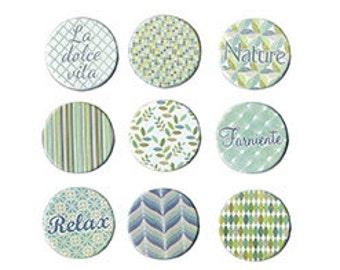 Lot of 9 fasteners Brads Paris Retro Theme Nature - Paris ties - Brad