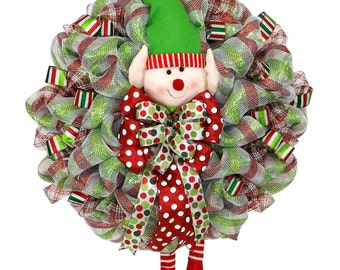 Giant Elf Wreath - Christmas Elf Wreath - Holiday Decor - Front Door Decor - Christmas Decor- Fun Decor - Deco Mesh Wreath