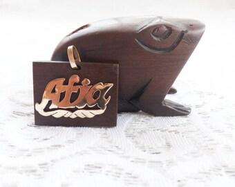 Pendant with African Name/ebony wood/Afia