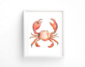 Framed Crab Watercolour Print