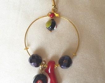 Hoop earrings with coral and Murrine