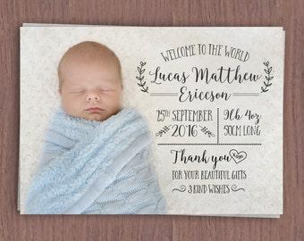 Whimsy Birth Announcement Card // Birth Announcement with Baby Photo // Boy's Birth Announcement // Girl's Birth Announcement