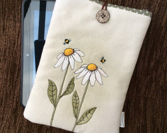 Hand painted  iPad mini / kindle fire cover - canvas Daisies and Bees