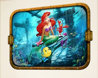 Disney Little Mermaid 3D Look Wall Vinyl Sticker Poster - Bedroom Playroom Mural