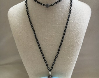 Big Horn Pendant with Black Chain and Magnetic Clasp