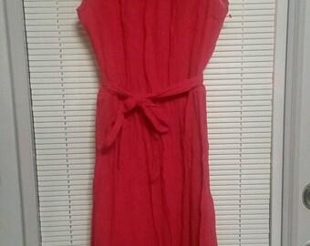 Vintage 70's Off Shoulder Cotton Gauze Red Peasant Dress NOS Size S-M