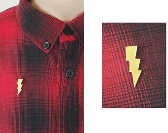 Pin Brooch Thunder Lightning Gold