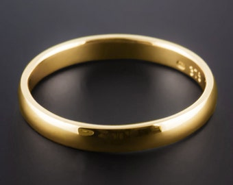 18ct Yellow Gold 3mm Wedding Band D Shape Half Round Handcrafted, medium weight, Made To Order