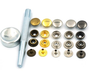 """Setting Tool 50 Sets 15mm 5/8"""" Metal Snap Fastener Leather Rapid Rivet Button Sewing C152"""