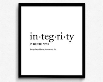 black and white office decor. Integrity definition  romantic dictionary art print office decor minimalist poster funny Office Etsy