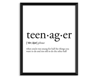 Teenager definition, dictionary art print, college dorm decor, dictionary art, office decor, minimalist poster, funny definition