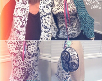 Leather Denim Lace Vest