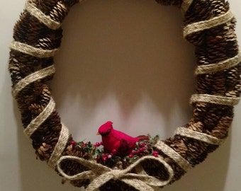 Cardinal Bird Door Wreath