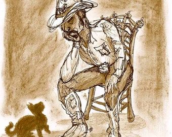 2010 Brown Cat and Cowboy watercolor and ink painting print, done by seller